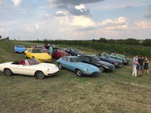 Grafika: Na poli u vinice je zaparkován tucet veteránů, mezi nimi například Jaguar E-Type či vozy značky Mercedes a Porsche. Vedle nich se baví skupina veteranistů.